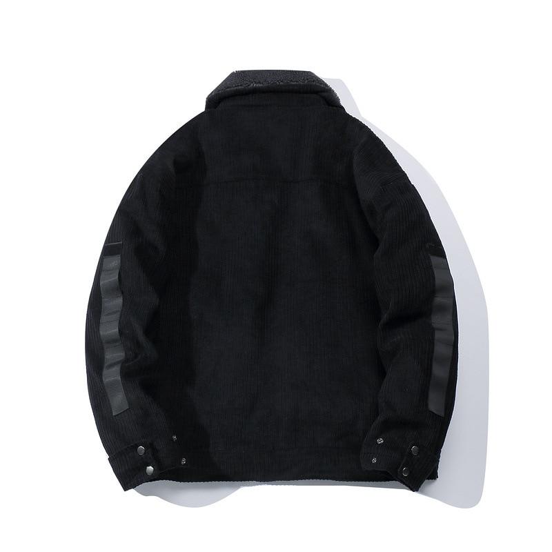 ABOORUN Mens Winter Corduroy Jacket Zipper Pocket Cargo Thick Fleece Jacket Coat Oversized Casual Outwear for Male R2393 - 2