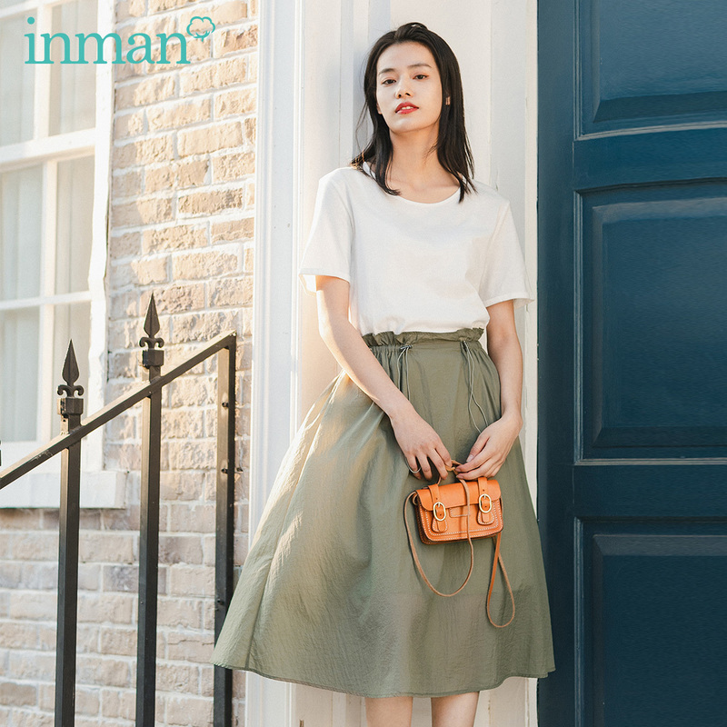 INMAN 2020 Summer New Arrival Nipped Waisted Leisure Gentle Short Sleeve Dress