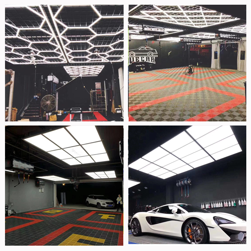 Customized Car Beauty Shop Car Wash Room Workshop Honeycomb Lamp Chandelier Led Lamp Film Plating Crystal Clean Room Work Statio