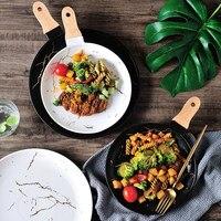 1PCS Nordic Retro Marmor Keramik Pizza Platte Dessert Platte Westlichen Pasta Steak teller Schmuck Ablage für geschirr-in Geschirr & Platten aus Heim und Garten bei