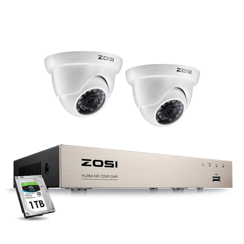 ZOSI 1080P CCTV Camera System 4CH 1080P DVR System With 2x Outdoor 2MP Video Security Cameras 2CH Home Surveillance Camera Kit