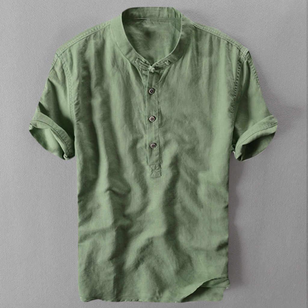 Männer Mode Shirts Casual Cool Und Dünne Atmungsaktive Kurzarm Shirts Baumwolle Leinen Hawaii Shirts Lässig Feste Slim Fit Shirt