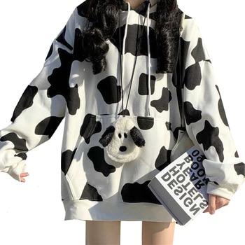 Cow Print Female Hoodies Harajuku Pullover Tops Autumn Long Sleeve Women Hoodie Hooded Fashion Streetwear Lady Hoodies Tops sherlock holmes hoodie sherlock holmes hoodies long sleeve polyester pullover hoodie fashion hoodies