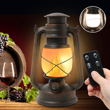 Classical LED Portable Remote Control Flame Lamp Retro Candlestick RC Outdoor Lighting Home Decoration Garden Light Waterproof