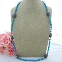 H101008 37 8mm Blue Turquoise Necklace