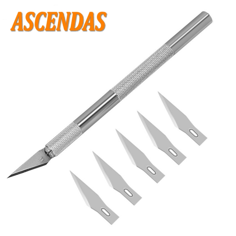 Stainless Metal Wood Carving Tools Fruit Food Craft Sculpture Engraving Utility Knife With 6 Blades For Stationery Art Supplies
