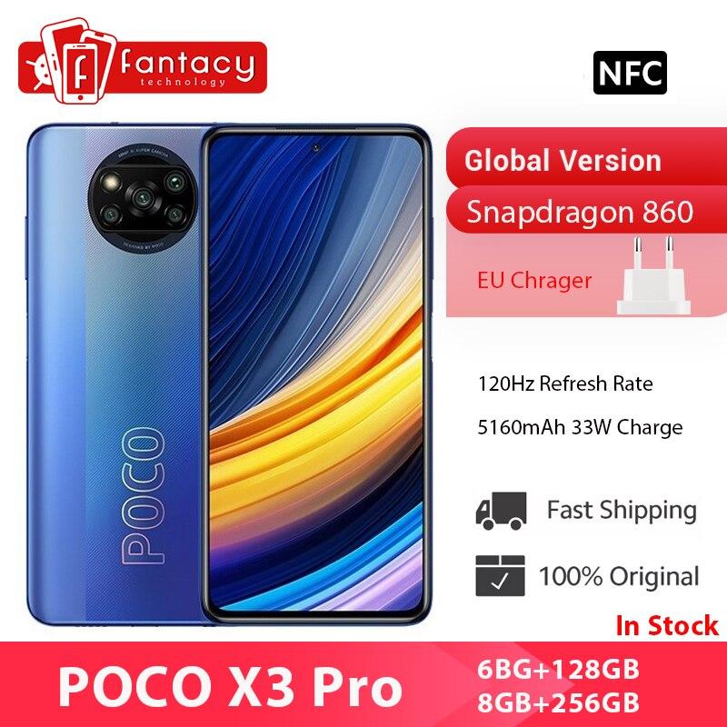POCO X3 Pro глобальная версия Snapdragon 860 смартфон 120 Гц DotDisplay 5160 мА/ч, 33 Вт NFC четырехъядерный AI Камера