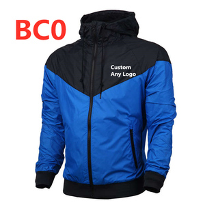 BC0 новый стиль мужской Бомбер с капюшоном тонкий лоскутный Любой пользовательский логотип мужская куртка-ветровка верхняя одежда на молнии тонкое пальто брендовая одежда Топ