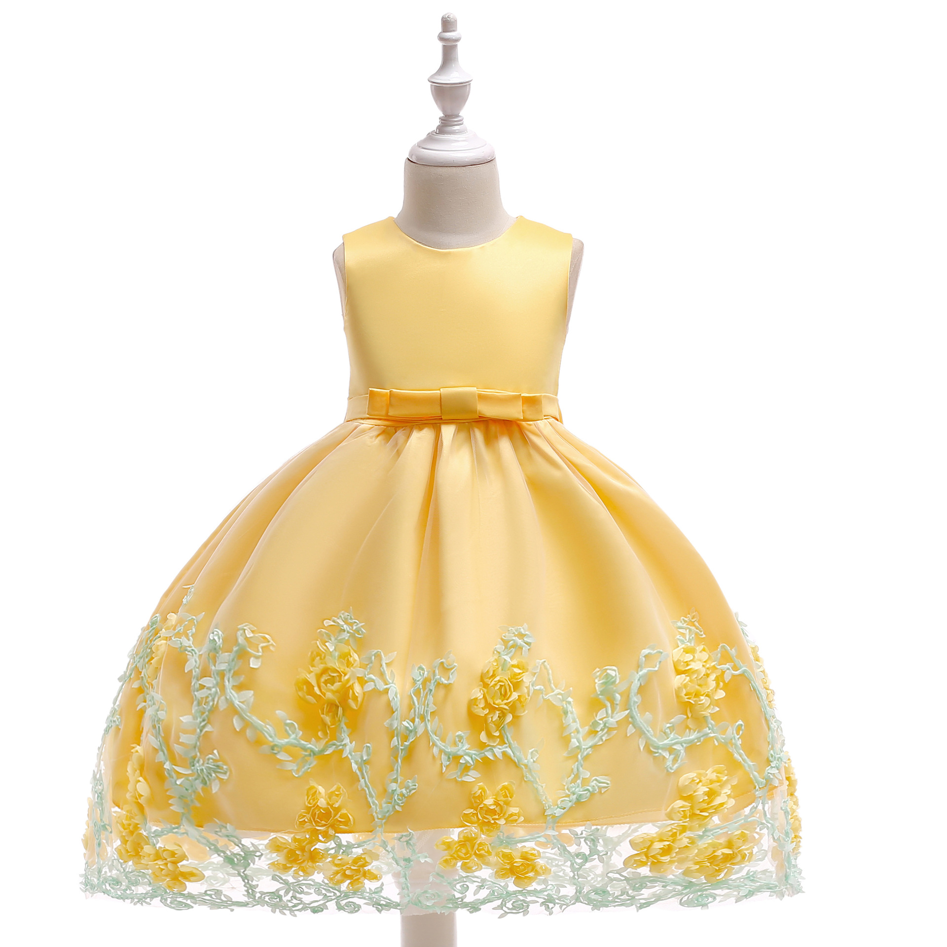 Girls Dress 2019 Summer New Style Europe And America Princess Relief Broken Flower High-waisted Gauze Formal Dress Cotton Inner