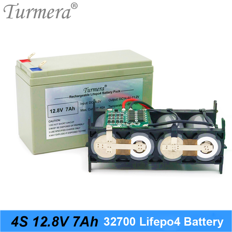 Turmera <font><b>32700</b></font> Lifepo4 <font><b>Battery</b></font> <font><b>Pack</b></font> 4S1P 12.8V 7Ah with 4S 40A Balance BMS for 12V Solar Panel and Uninterrupted Power Supply 12V image