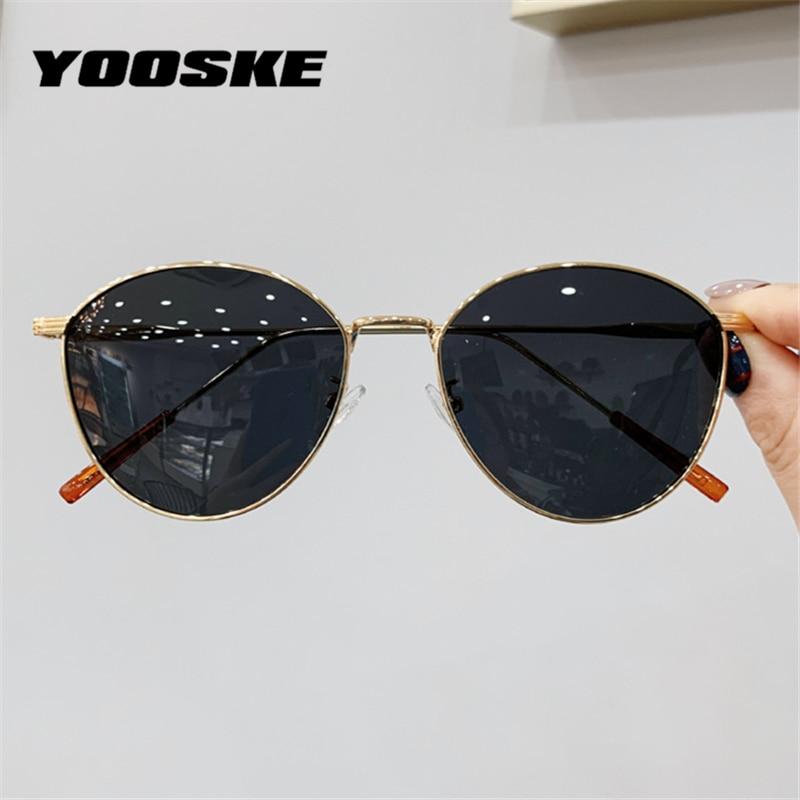 YOOSKE-lunettes de soleil œil de chat UV400 pour femmes, lunettes de soleil de conduite chics, monture métallique Vintage, conducteur, verres solaires UV400