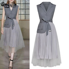 купить 2019 Spring Woman Gray Color Sleeveless Single Button Turn-down Collar Asjustable Waist Spliced Mesh Dress дешево