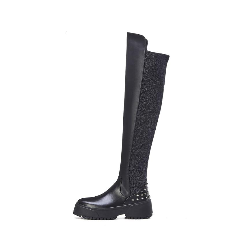 ZVQ winter nieuwe mode overknee laarzen buiten comfortabele hoge hakken platform ronde neus klinknagel zip vrouwen schoenen drop shipping - 5