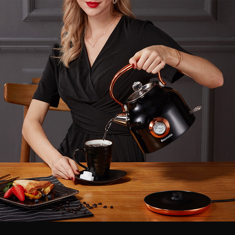 220V 1800W Retro Electric Kettle Electric Water Kettle 304 Stainless Steel Electric Kettles1.7L Large Capacity Black Mini Kettle