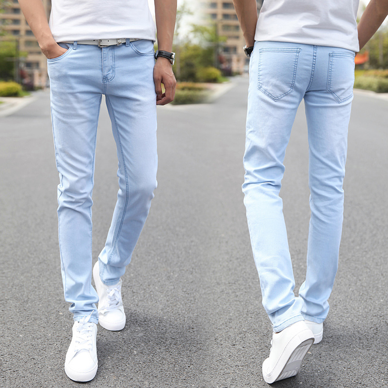 Spring Winter Style Teenager Light Blue Jeans Male STUDENT'S Slim Fit Pants Elasticity Pencil Pants Agent