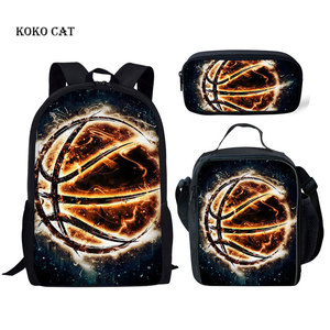 Image 1 - 3d 화재 농구 패턴 schoolbags 세트 소년을위한 정형 외과 satchel 어린이 일일 도서 가방 청소년 스포츠 데이 팟 mochila