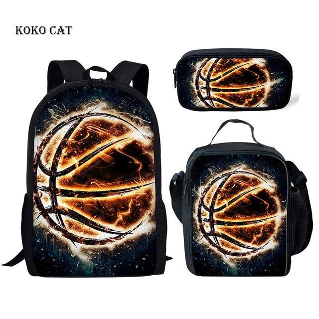 3d 화재 농구 패턴 schoolbags 세트 소년을위한 정형 외과 satchel 어린이 일일 도서 가방 청소년 스포츠 데이 팟 mochila