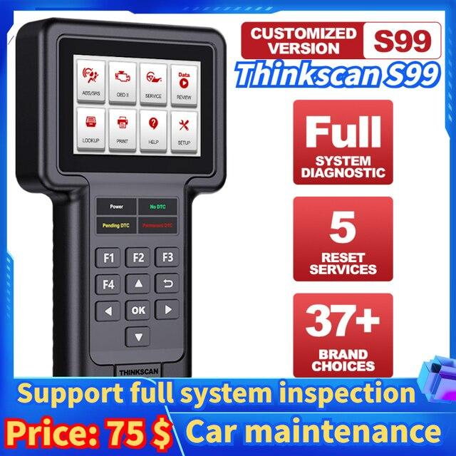Thinkcar Thinkscan S99 DIY araba algılama OBD2 tam sistem kod okuyucu tarayıcı yağ/fren/SAS/ETS/DPF sıfırlama teşhis araçları