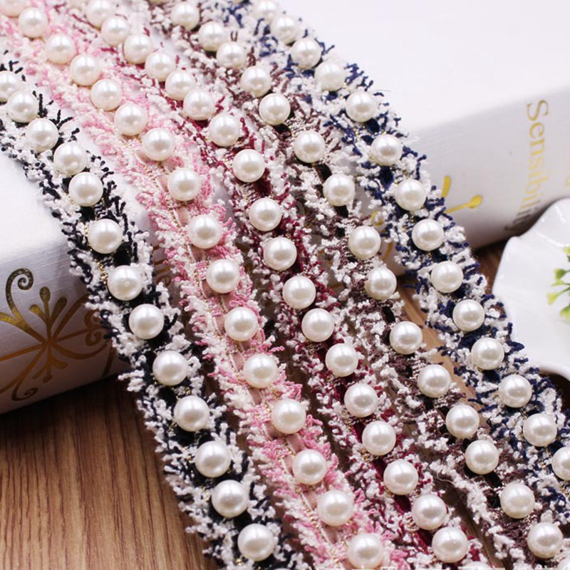 Sewing Supplies Embroidered Costume Dress Ribbon Lace Trim Fabric Pearl Beaded