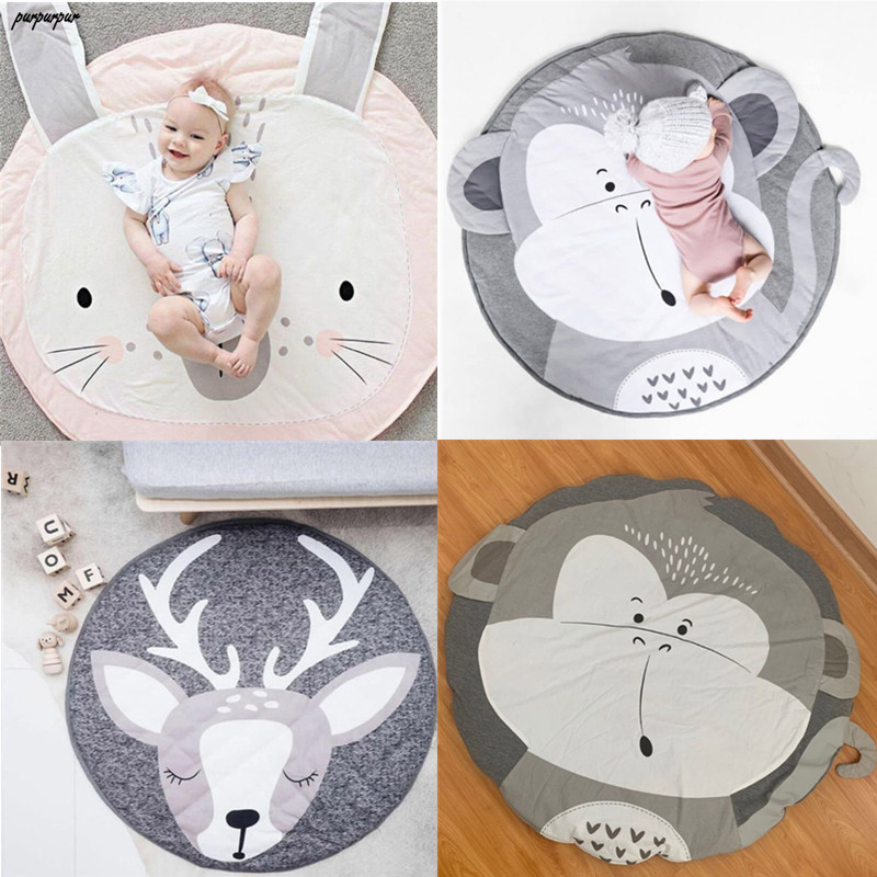 Baby Game Crawling Mat Newborn Cartoon Animal Cotton Blanket Round Floor Carpets For Kids Room Nursery Decor