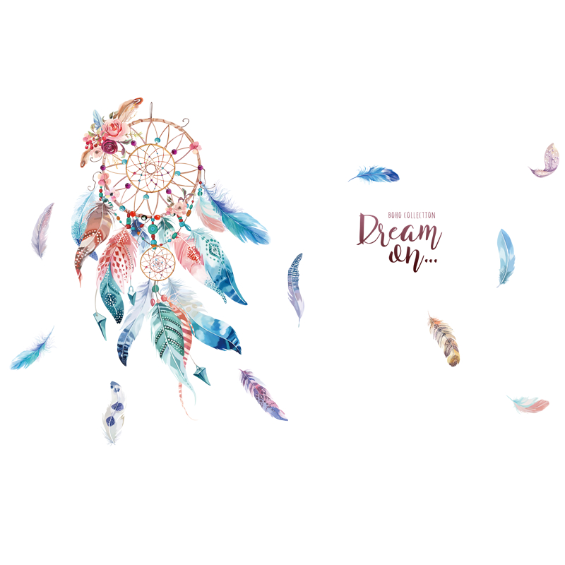 SHIJUEHEZI Cartoon Girl Wall Stickers Vinyl DIY Dreamcatcher Feathers Mural Decals for Kids Rooms Baby Bedroom Home Decoration in Wall Stickers from Home Garden