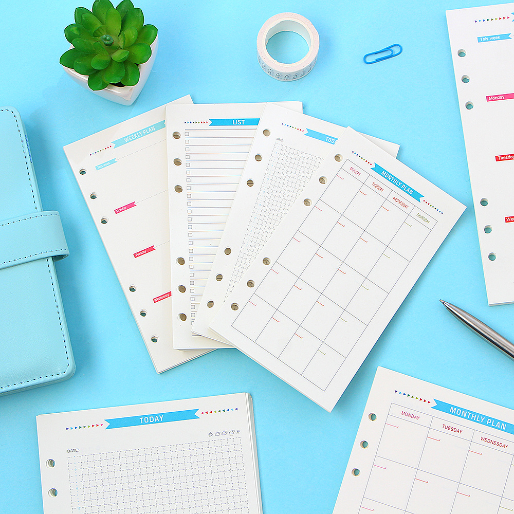 6 Holes Spiral Planner Refill Inner Paper Diary Weekly Monthly Plan To Do List Colorful Page for A6/A5 Loose Leaf Notebook