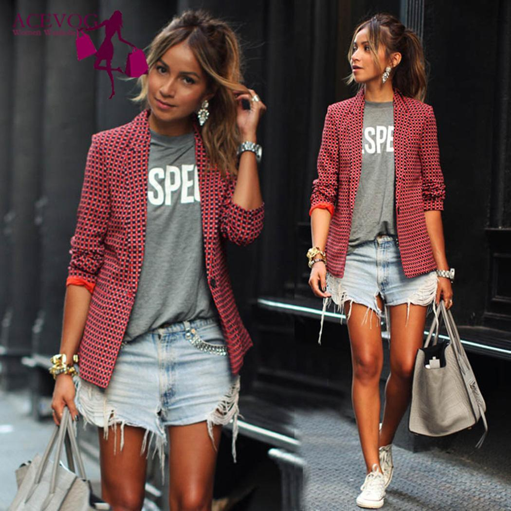 Blazer Long-Sleeve Plaids Casual Women New-Fashion Regular-Button Red Turn-Down-Collar title=