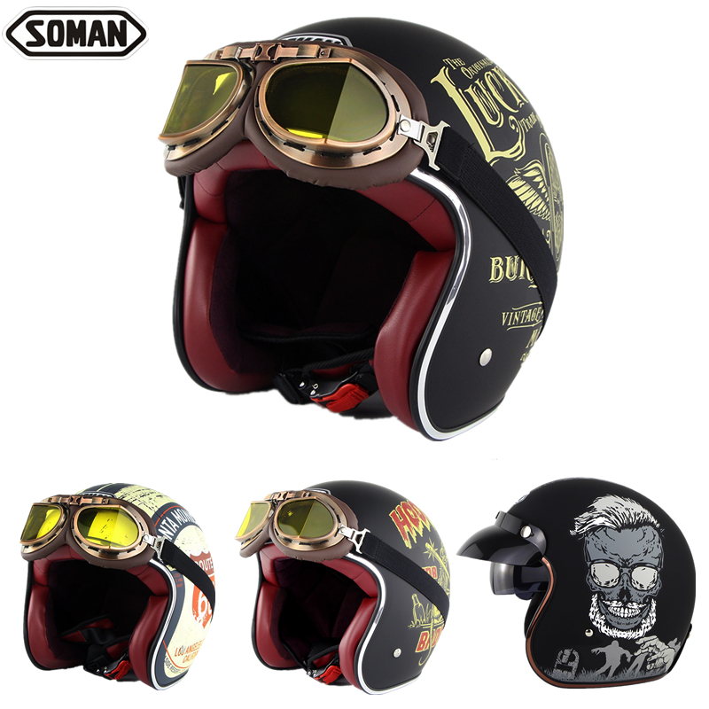 SOMAN Retro Helmet Motorcycle Open Face Helmet Leather Scooter Helmets Classic 3/4 Chopper Casco Moto Vintage Motorcycle Helmets
