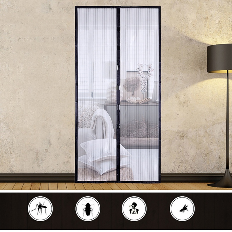 Black Summer Anti Mosquito Insect Fly Bug Curtains Magnetic Mesh Net Automatic Closing Door Screen Kitchen Curtains