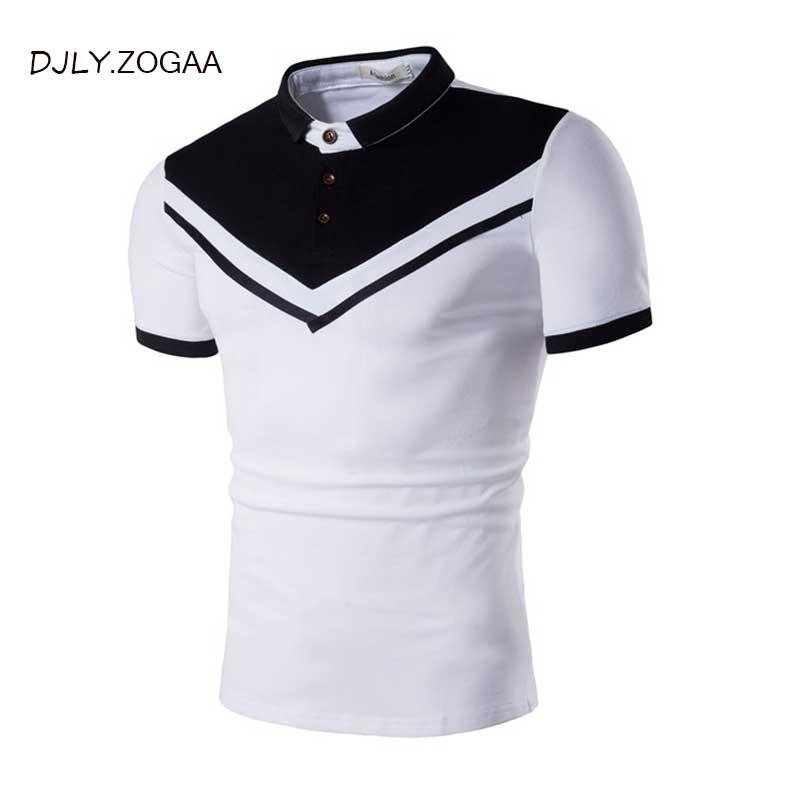 ZOGAA Brand Clothing Black & white Men Polo Shirt Business Casual Solid button Short Sleeve Breathable Slim Fit polo SHIRT men