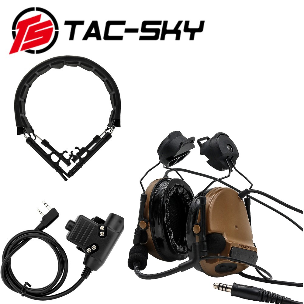 TAC-SKY COMTAC III Helmet Bracket Silicone Headphones And Intercom PTT U94 PTT With Tactical Headphones Replacement Headband CB