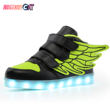 High Quality Eur Size 25-37 7 Colors Kid Luminous Sneakers Glowing USB Charge Boys LED Shoes Girls Footwear Slippers White