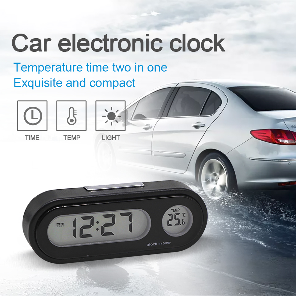 LOEN Auto Digital Clock Automobile Watch Automotive Car Thermometer Hygrometer Decoration Ornament Mini Clock In Car-Styling