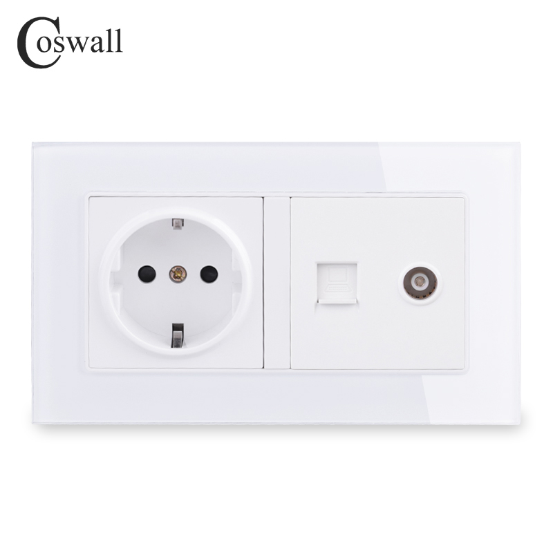 COSWALL EU Standard Wall Socket + Female TV Jack With Internet Computer Data RJ45 CAT5E Connector Tempered Crystal Glass Panel