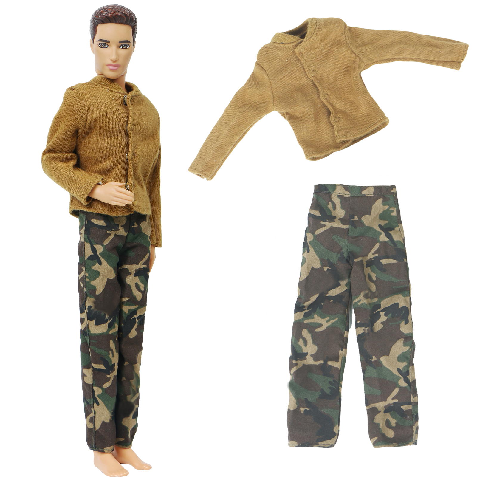 High Quality Men's Doll Outfit For Barbie Doll Friend Ken Doll Camouflage Pants Trousers Yellow Shirt Clothes Accessories Toy