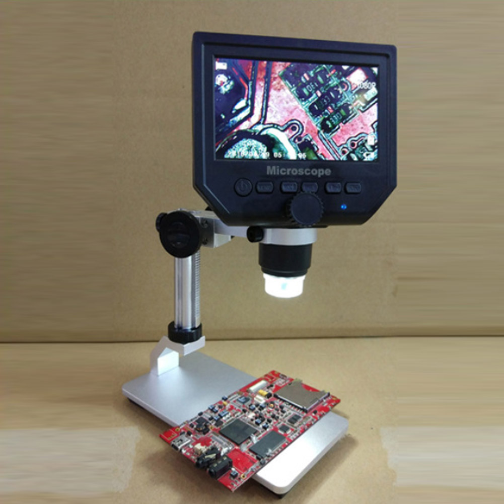 Electronic Video Microscope 600X Digital Microscope 4.3 Inch HD LCD Soldering Microscope Phone Repair Magnifier   Metal Stand