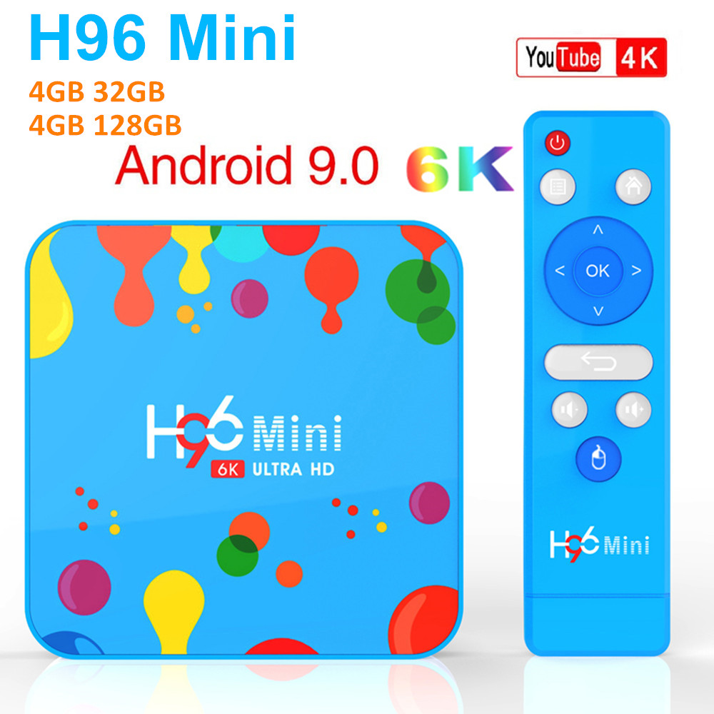 H96 mini 4 gb 128 gb 32 gb android 9.0 caixa de tv allwinner h6 quad core 6 k h.265 5g wifi bluetooth youtube definir caixa superior pk h96 max