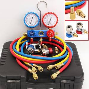 Car Air Conditioning Pressure Manifold Gauge Hose Kit for R134A R12 R22 R502 Refrigerant Pressure Gauge Set with Storage Box