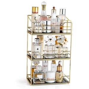 Caja de almacenamiento de cosméticos, tocador de escritorio para el hogar, estante de perfume de tocador, estante de acabado giratorio, bandeja organizadora de maquillaje