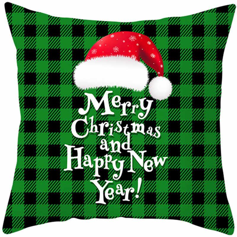 Fuwatacchi 크리스마스 스타일 쿠션 커버 그린 레드 그리드 던져 베개 커버 장식 베개 커버 소파 베개 케이스 베개 케이스