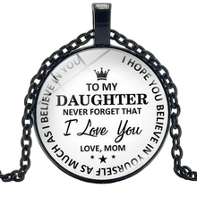 2019 New To My Beloved Daughter Time Glass Round Pendant Necklace Fashion Sweater Chain Jewelry