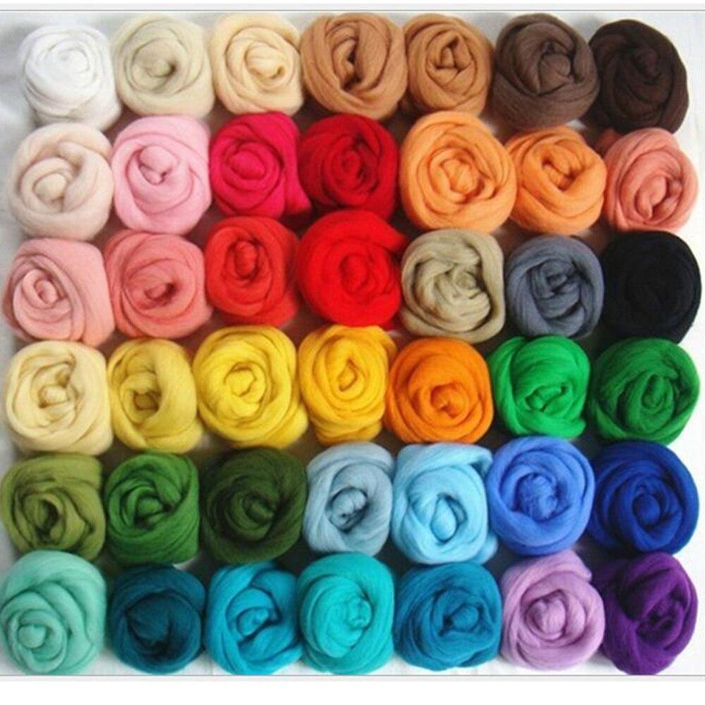 36 Цвета Шерсть-ровинг волокна из мягкой шерсти пряжа ровинг для иглы для валяния ручного прядения мокрого валяния кукла DIY рукоделие