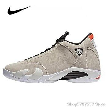 Original Jordan Nike Air Jordan 14 Retro Desert Sand Men's Basketball Shoes High Top Basketball Unisex Women Shoes 487471-021