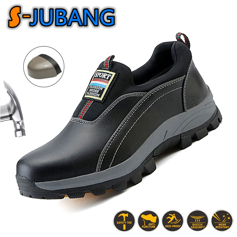 Puncture Proof Mens Work Boots Waterproof Genuine Leather Steel Toe Saftey Shoes Indestructible Working Shoes Zapatos LGJ058 image