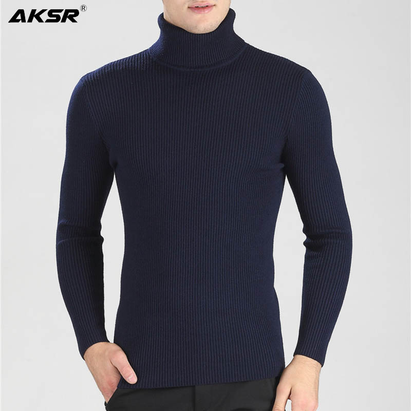 AKSR Men's Turtleneck Winter Sweater Warm Wool Pullover Turtle Neck Knitted Sweater Jumper Men Sueter Hombre Pull Col Roul Homme