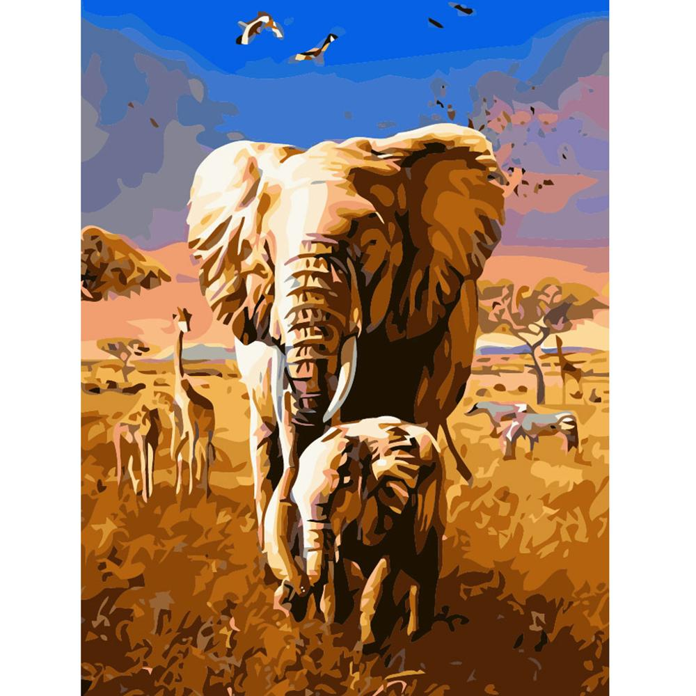 DIY Oil Painting By Numbers Kit Drawing Art On Canvas Paint Elephant in a Forest