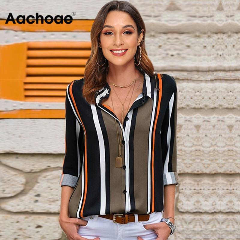 Блузки женские 2019 с длинным рукавом полосатая рубашка отложной воротник Женская Офисная рубашка Осенняя Блузка Топы плюс размер