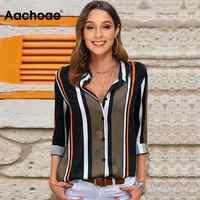Blusen Frauen 2020 Freizeit Langarm Gestreiften Hemd Drehen Unten Kragen Dame Büro Hemd Herbst Bluse Top Blusas Mujer Plus größe
