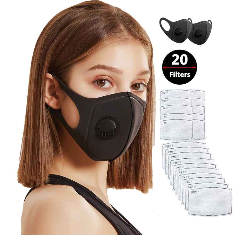 2pcs PM2.5 Protective Mask For Dust Smoke Gas Allergy Adjustable Reusable 20 Filters Bts