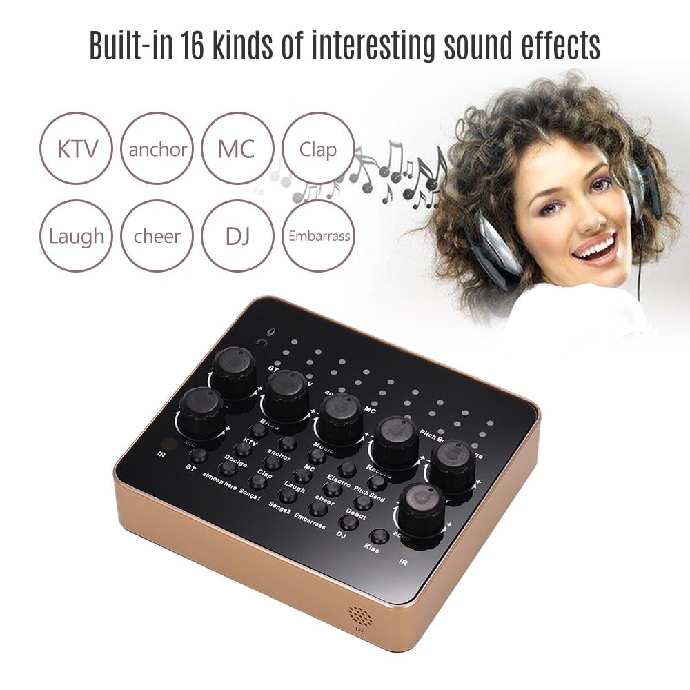 SODIAL V8 Live Sound Card for Phone Computer Headset Microphone Audio Webcast Karaoke